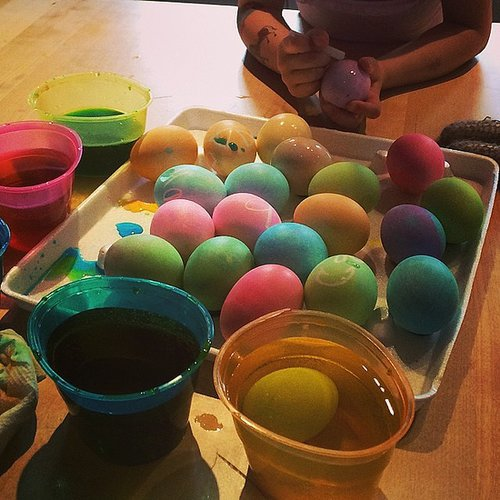 Sparrow Madden got into the Easter spirit, decorating some eggs for the Easter bunny. Source: Instagram user joelmadden