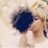 How sweet is the shot Beyoncé shared of her little smooch with Blue? Source: Instagram user beyonce
