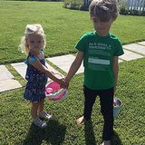 Cousins Maxwell Johnson and Bronx Wentz hunted for Easter eggs together.  Source: Instagram user jessicasimpson