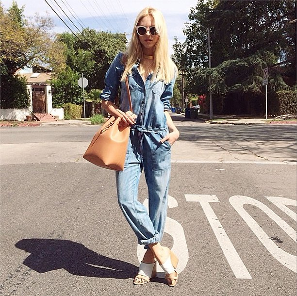 A jumpsuit is easy enough to throw on and looks even better with more sophisticated sandals and a slouchy bucket bag.  Source: Instagram user peaceloveshea