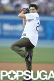 In April 2014, Max Greenfield threw the first pitch at a Dodgers game in LA.