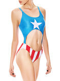 Channel your crime-fighting side in the  Captain America monokini ($45).