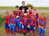 Andrew made the day of a group of little Spider-Man fans in Mountain View, CA in April 2014.