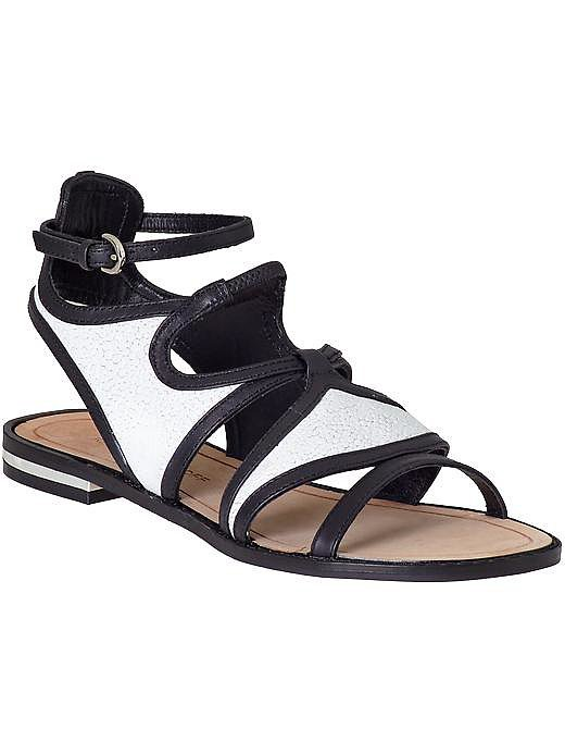 Rebecca Minkoff Simon black and white flat sandals ($160, originally $225)
