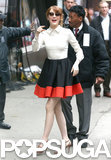 Emma Stone gave a wave while arrived at Good Morning America in NYC on Tuesday.