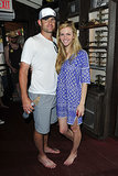 Brooklyn Decker and Andy Roddick went barefoot for TOMS One Day Without Shoes event in LA on Tuesday. Source: Michael Simon