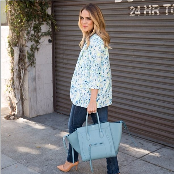 If you can wear jeans to the office, do it the right way. Add a pretty, Spring-ready floral blazer to dress up your denim and finish it all off with a smart work satchel and a pair of sophisticated pumps.  Source: Instagram user galmeetsglam