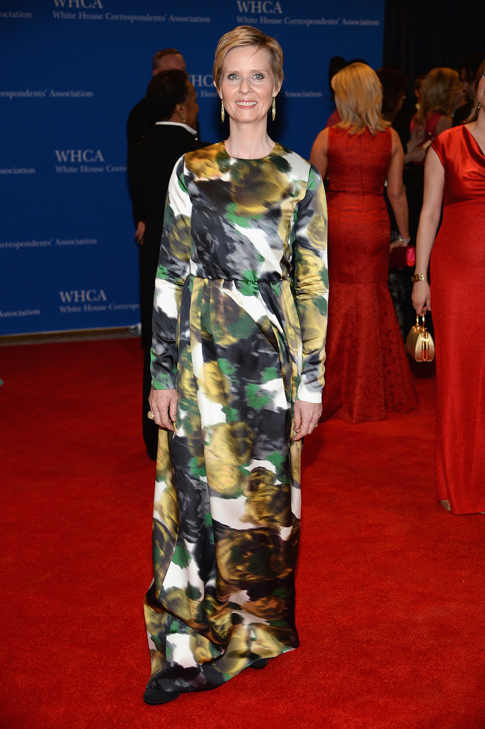 Cynthia Nixon wore a patterned dress by Tia Cibani.