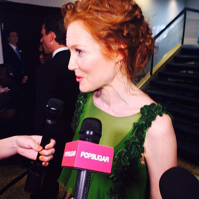 Darby Stanchfield wore her hair up.