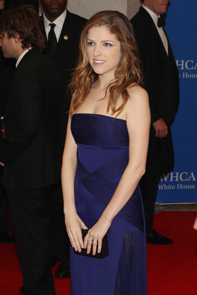 Anna Kendrick wore a blue dress.
