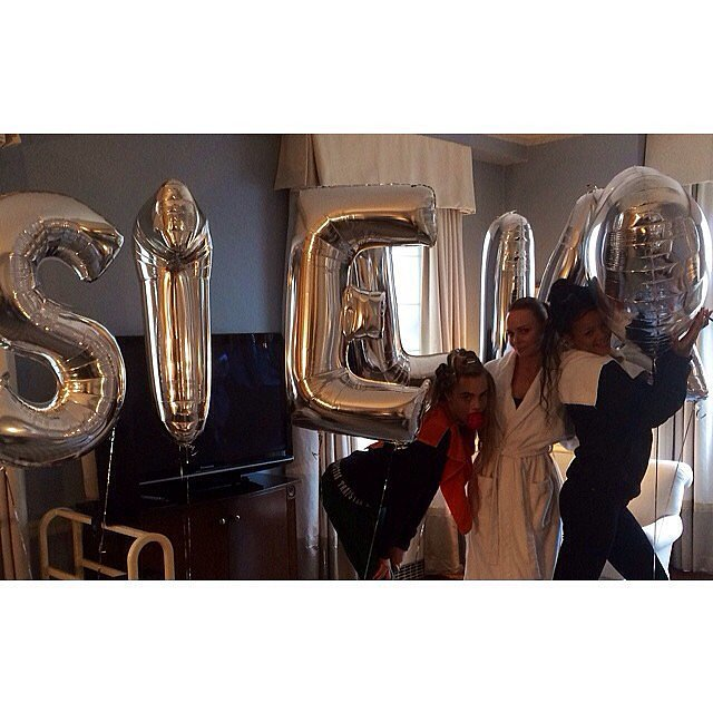 Cara, Stella, and Rihanna had fun with the designer's personalized balloons. Source: Instagram user stellamccartney