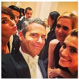 Lea Michele puckered up with Kristen Wiig, Allison Williams, and Andy Cohen. Source: Instagram user msleamichele