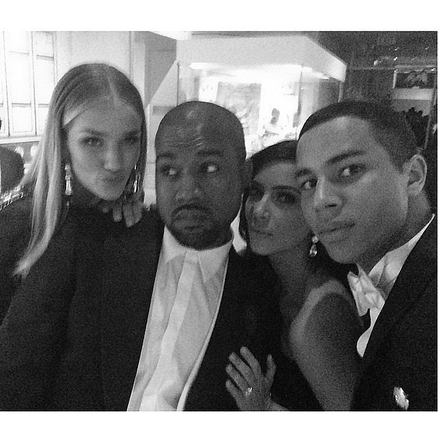 Kim and Kanye squeezed into a sweet pic with Olivier Rousteing and his date, Rosie Huntington-Whiteley. Source: Instagram user kimkardashian