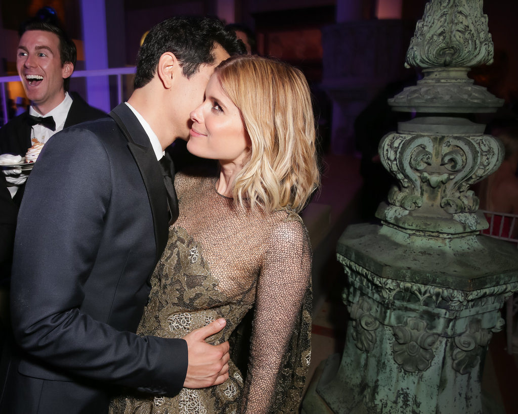 Kate Mara got a kiss from boyfriend Max Minghella.