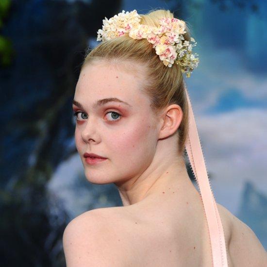 Celebrity Hair Wedding Inspiration Elle Fanning Floral Crown