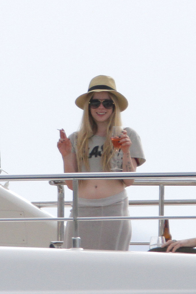Over their destination wedding weekend, Chad and Avril also spent an afternoon in the sun lounging on a yacht, where Avril enjoyed one of France's best pleasures: rosé wine.