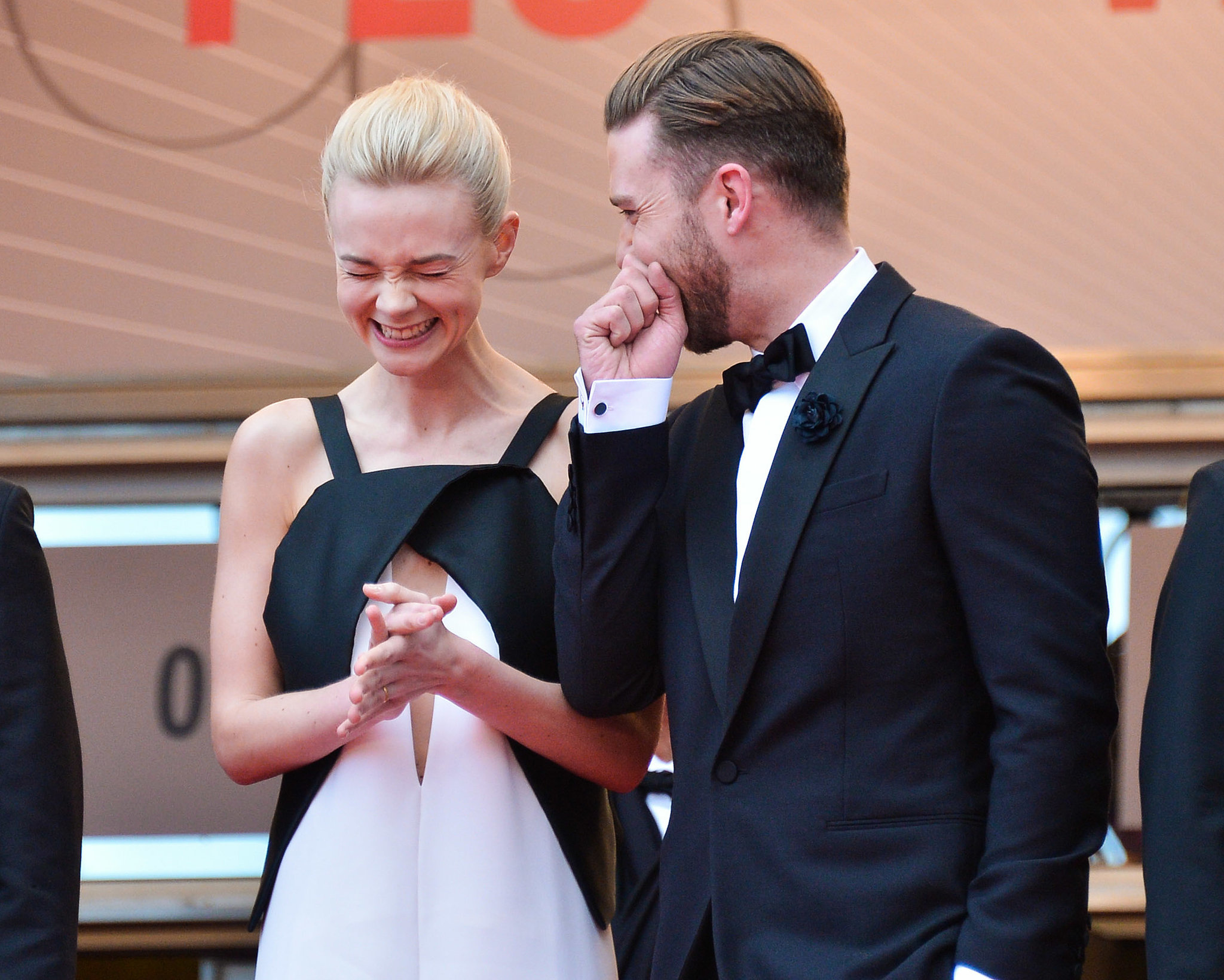 Justin Timberlake cracked Carey Mulligan up at the red carpet premiere of Inside Llewyn Davis in 2013.