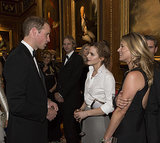 Prince William chatted with Emma Watson and Kate Moss at his charity dinner at England's Windsor Castle on Tuesday.