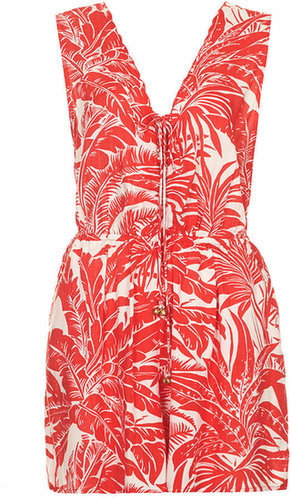 Topshop Palm-Print Playsuit