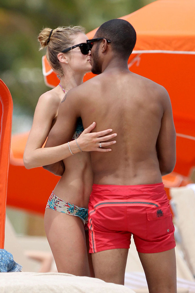 Model Doutzen Kroes and her husband, Sunnery James, couldn't keep their hands off each other while on the beach in Miami in March 2013.