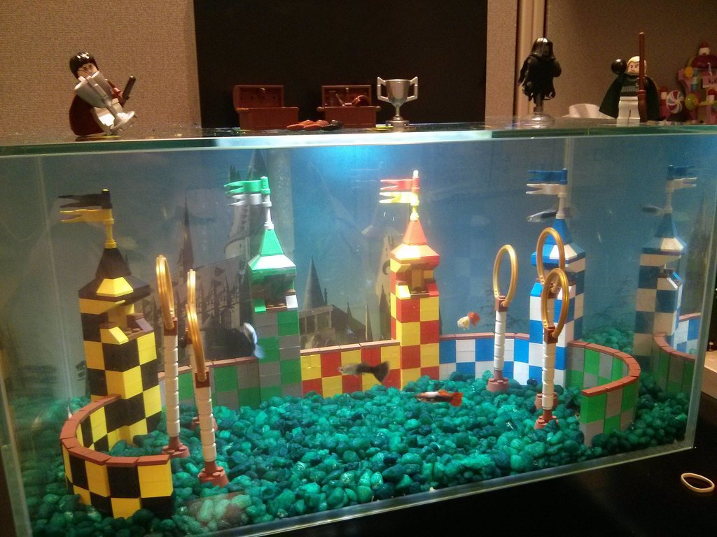 """My Lego Quidditch Aquarium at my Office."" Source: Reddit user kst8er via Imgur"