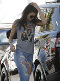 Kendall Jenner stopped for gas in LA on Saturday after returning home from her first time at the Cannes Film Festival.