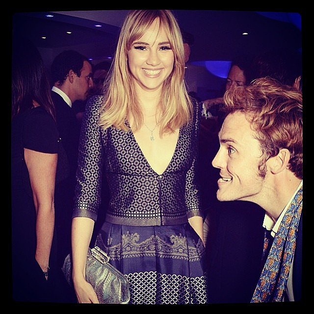 Sam Claflin photobombed Suki Waterhouse at an event. Source: Instagram user sukiwaterhouse