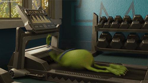 When you turn up your treadmill speed too high and have to jump off. Or fall off.
