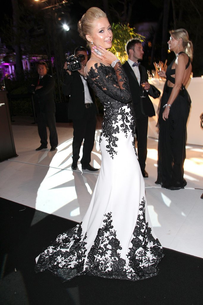 Paris Hilton wore black and white.