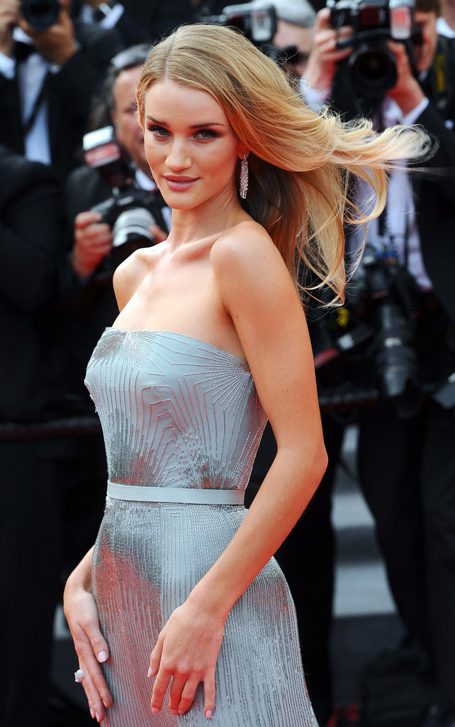 Rosie Huntington-Whiteley's hair moved in the wind at The Search premiere.