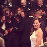 Hilary Swank struck a pose for photographers as she left the premiere of her latest film, The Homesman. We caught this snap of the actress as people clamored for a shot of her in her stunning one-shouldered dress.