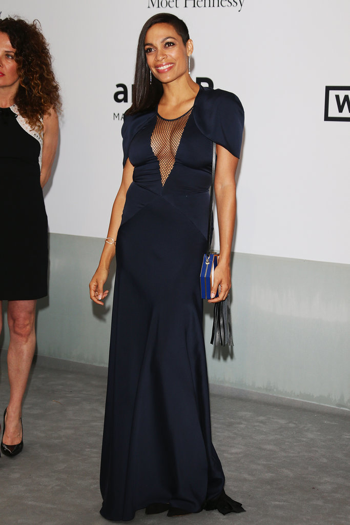 Rosario Dawson took the plunge at the amfAR gala.