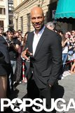 Common struck a pose while leaving his hotel.