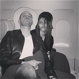 Emmy Rossum and Michael Bublé switched hats on a plane. Source: Instagram user emmyrossum