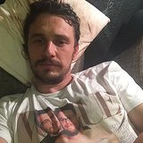 James Franco wore a shirt of his and Seth Rogen's spoof of Kim Kardashian and Kanye West's Vogue cover. Source: Instagram user jamesfrancotv
