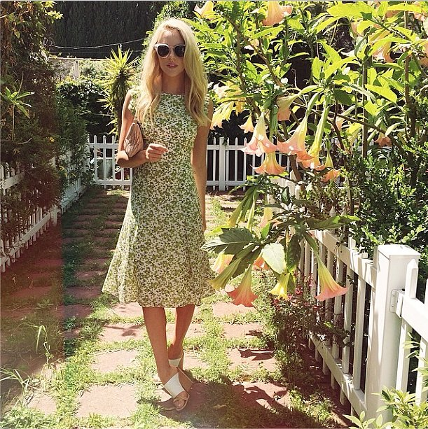 For an outdoor wedding or drinks with friends, mix up a pretty printed dress with a pair of mules. Source: Instagram user peaceloveshea