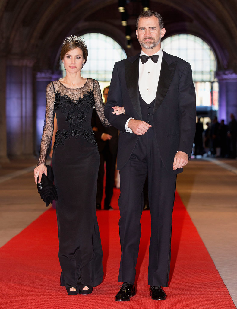 The royal couple was dressed to the nines at a special dinner for the Neatherlands' Queen Beatrix in April 2013.
