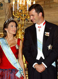 Princess Letizia gave Prince Felipe a sweet smile during a royal appearance in October 2004.
