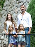 The family visited a historical mansion in Palma de Mallorca, Spain, in August 2013.