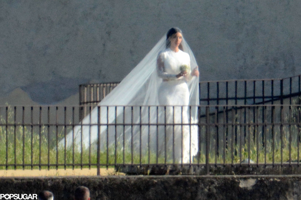 Kim walked down the aisle in her Givenchy gown.
