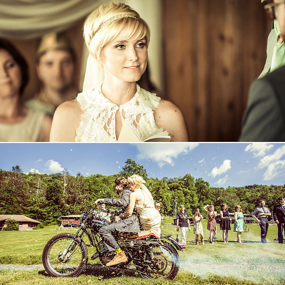 "What was your favorite moment from the day? ""The ceremony was my favorite part. Raun shocked me with his beautiful vows, and the ceremony was fun and interactive and very much us — revolving around our ability to be our own unique selves, together. ""I also loved riding off on the motorcycle postceremony. The motorcycle we rode off on was significant because it was a project that Raun restored in honor of his dad (who passed away — it was his bike that he never got working), and we rode it to have a little piece of him there."" Do you have any advice for other brides-to-be? ""Make the ceremony feel like you. Talk to your officiant about your relationship and what you both mean to each other, and craft your vows around your feelings. In the midst of all the planning of the food and booze and goody bags, you forget that everyone is really there to see you two declare your love, and that really is the most special part. Oh, and hire an amazing photographer(s)!"" Photos by M and E Photo Studio"