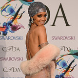 Rihanna in Sheer See-Through Nude Dress at 2014 CFDA Awards