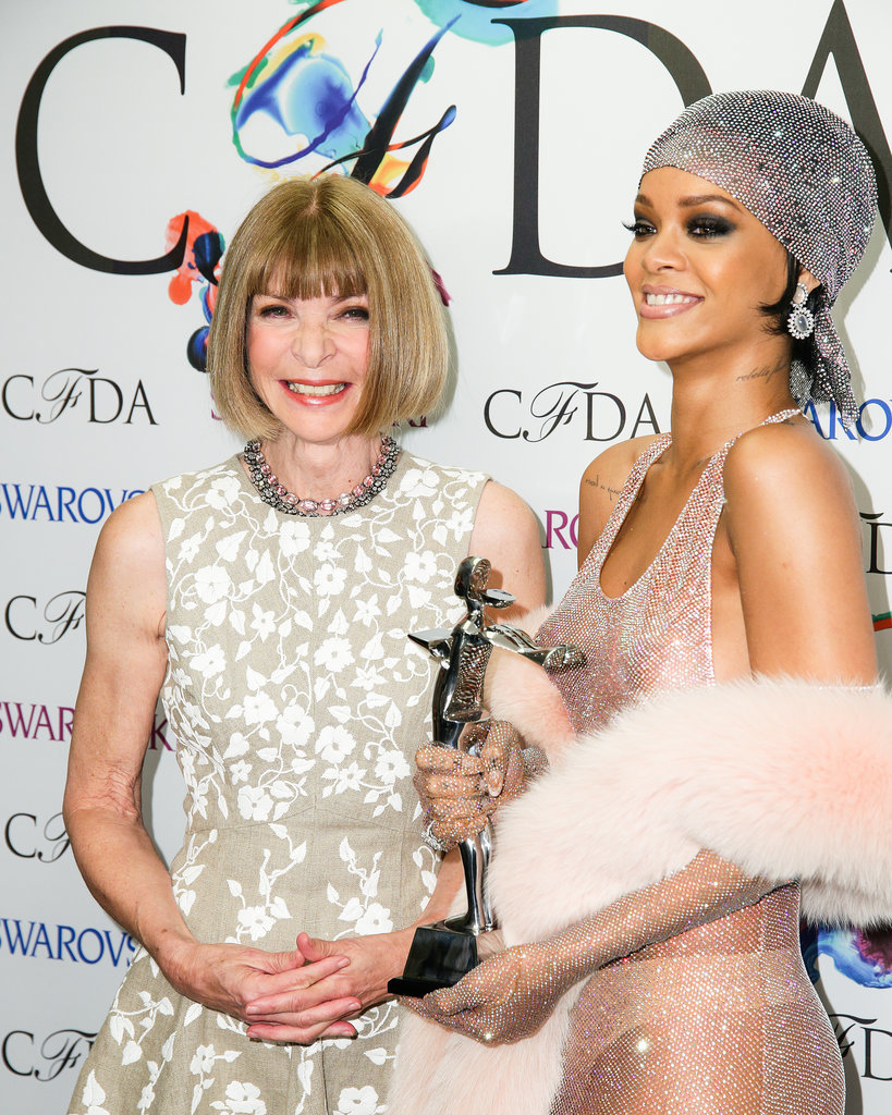 Rihanna smiled after accepting her award alongside Anna Wintour.