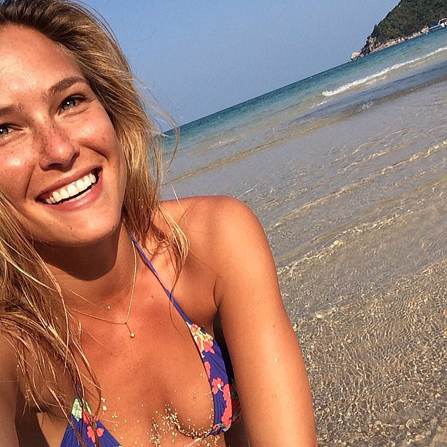She snapped a photo while sitting by the ocean in March 2014. Source: Instagram user barrefaeli