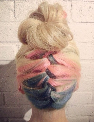 Multicolored Braided Bun