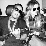 Khloé Kardashian and boyfriend French Montana took this controversial photo with a gun and a bottle of Champagne. Source: Instagram user khloekardashian