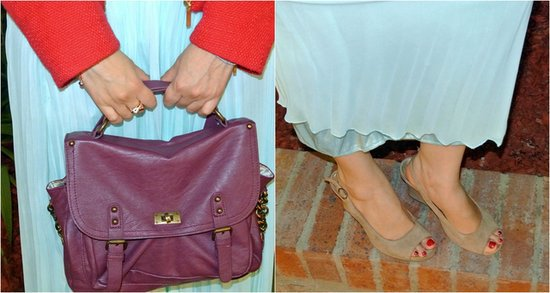 purple messenger bag, nude peep toes #JFashionblog