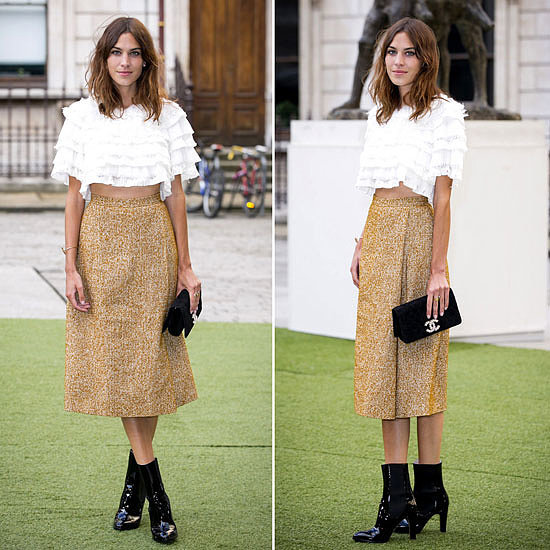 Alexa Chung in Chanel Crop Top and Metallic Skirt