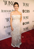 Maggie Gyllenhaal glowed in a white feathered frock.