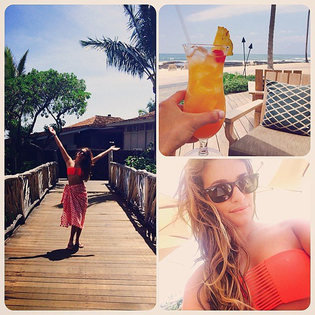 Lea treated herself to a tropical cocktail in Hawaii.  Source: Instagram user msleamichele